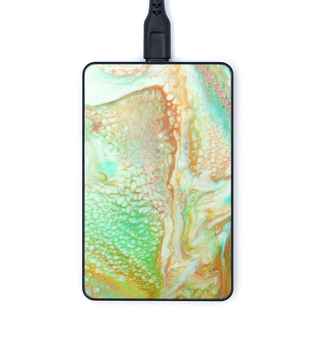 Thin ResinArt Wireless Charger - Georgianne (Teal & Gold, 347577)