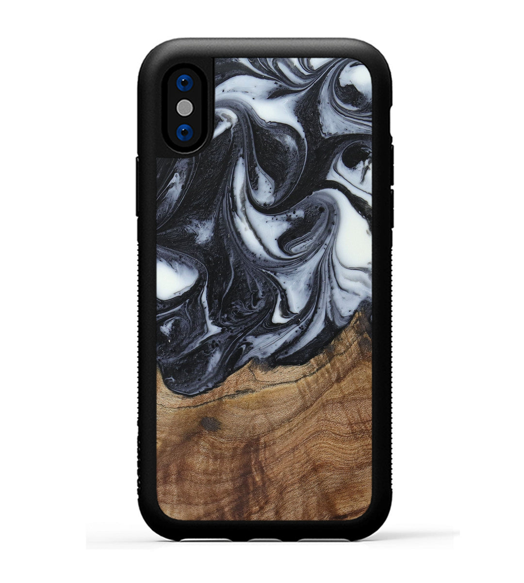iPhone X Wood+Resin Phone Case - Christie (Black & White, 388765)
