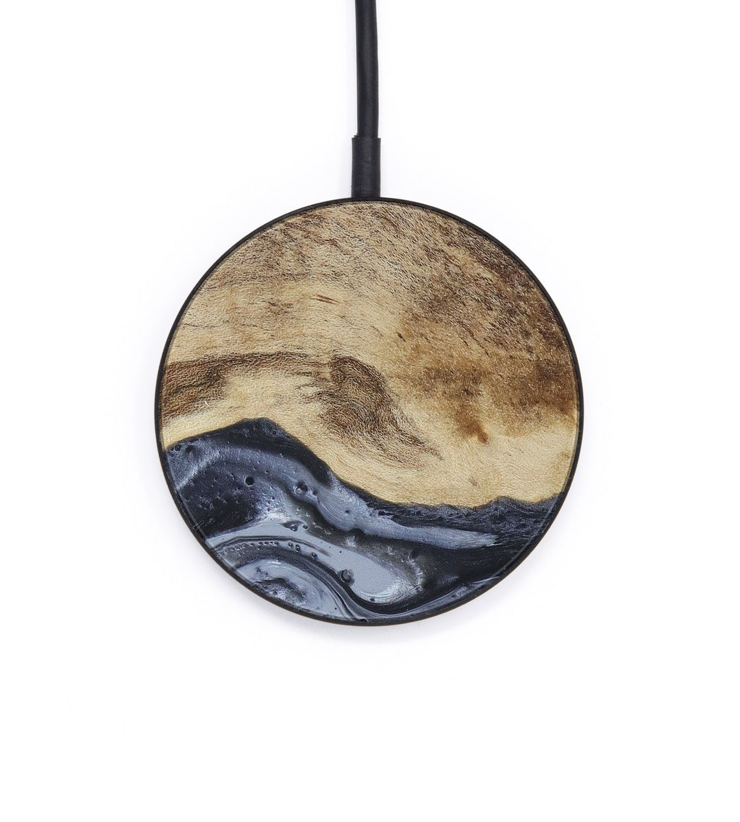 Circle Wood+Resin Wireless Charger - Sean (Gunmetal, 407163)