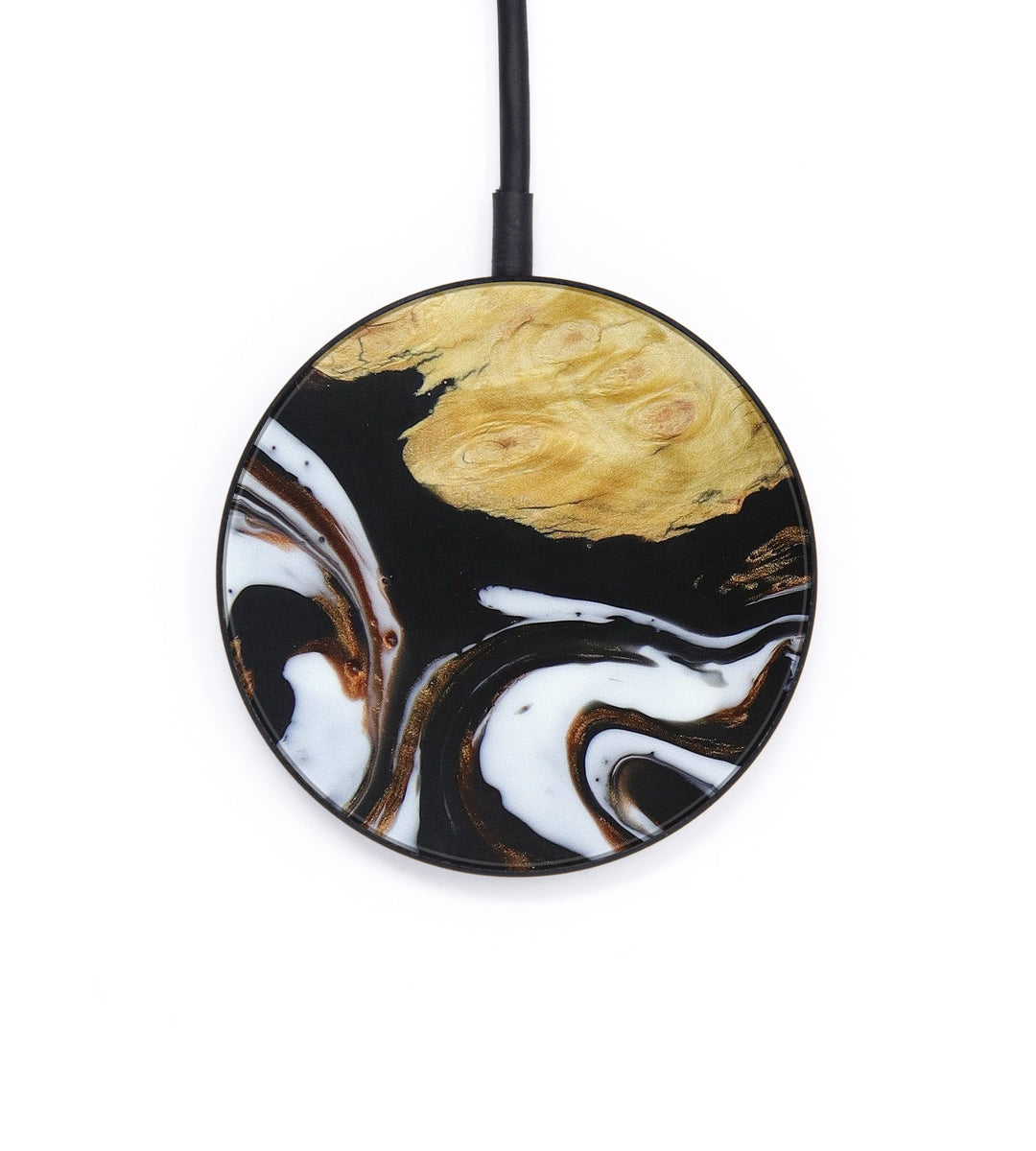 Circle Wood+Resin Wireless Charger - Sabina (Black & White, 393655)