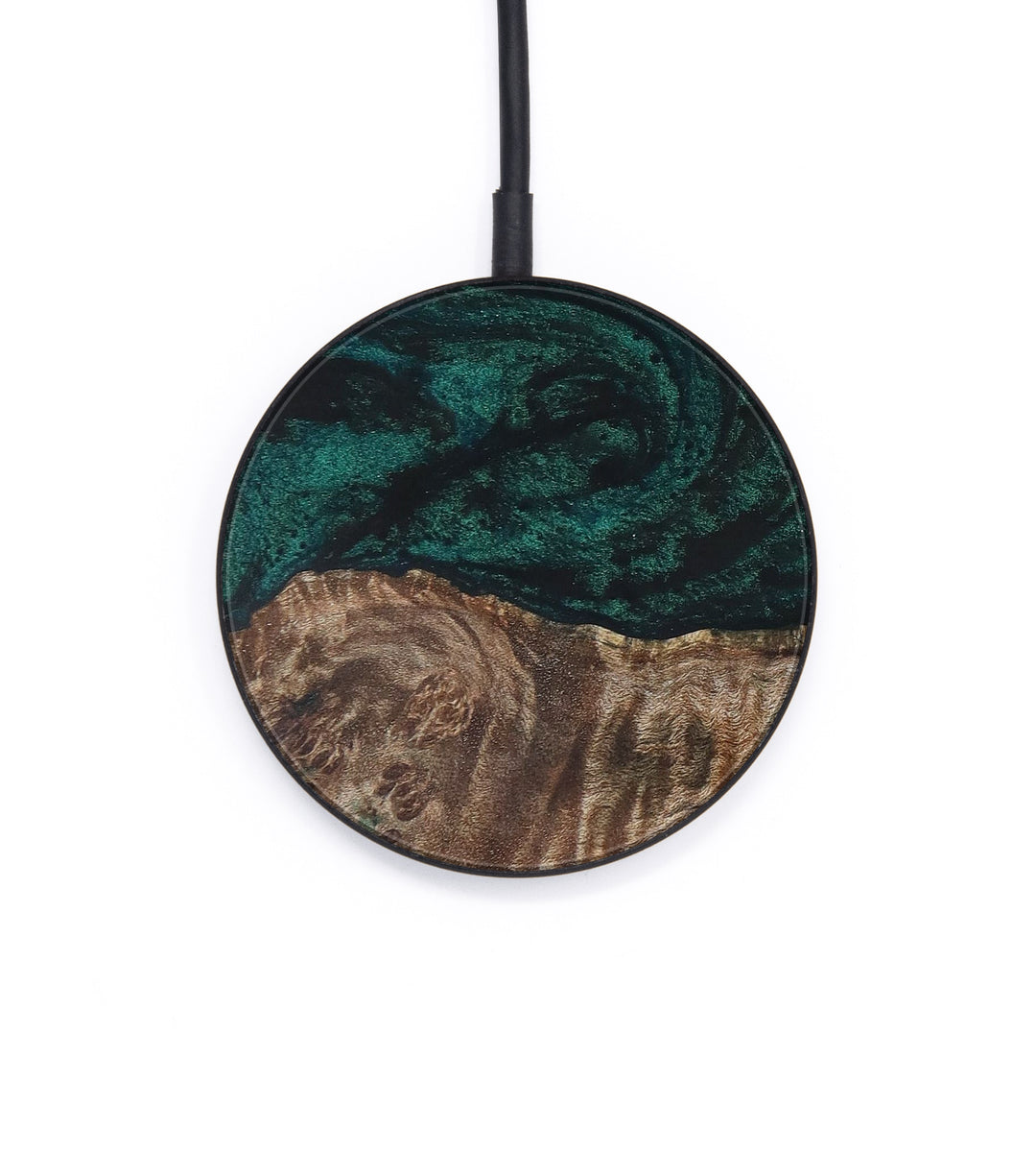 Circle Wood+Resin Wireless Charger - Martelle (Dark Green, 400123)