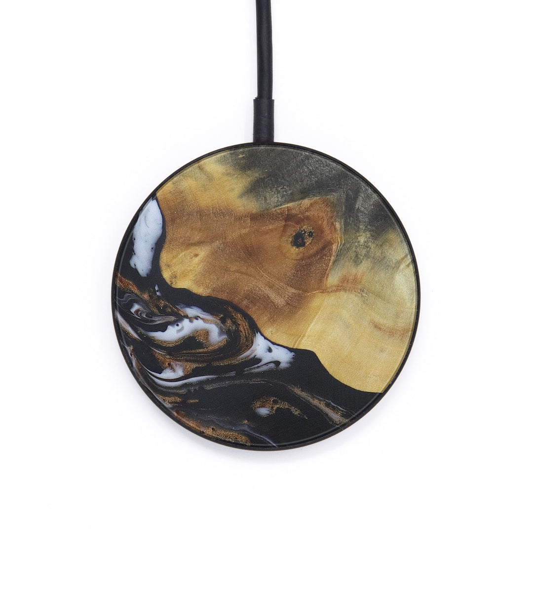 Circle Wood+Resin Wireless Charger - Chastity (Black & White, 406716)