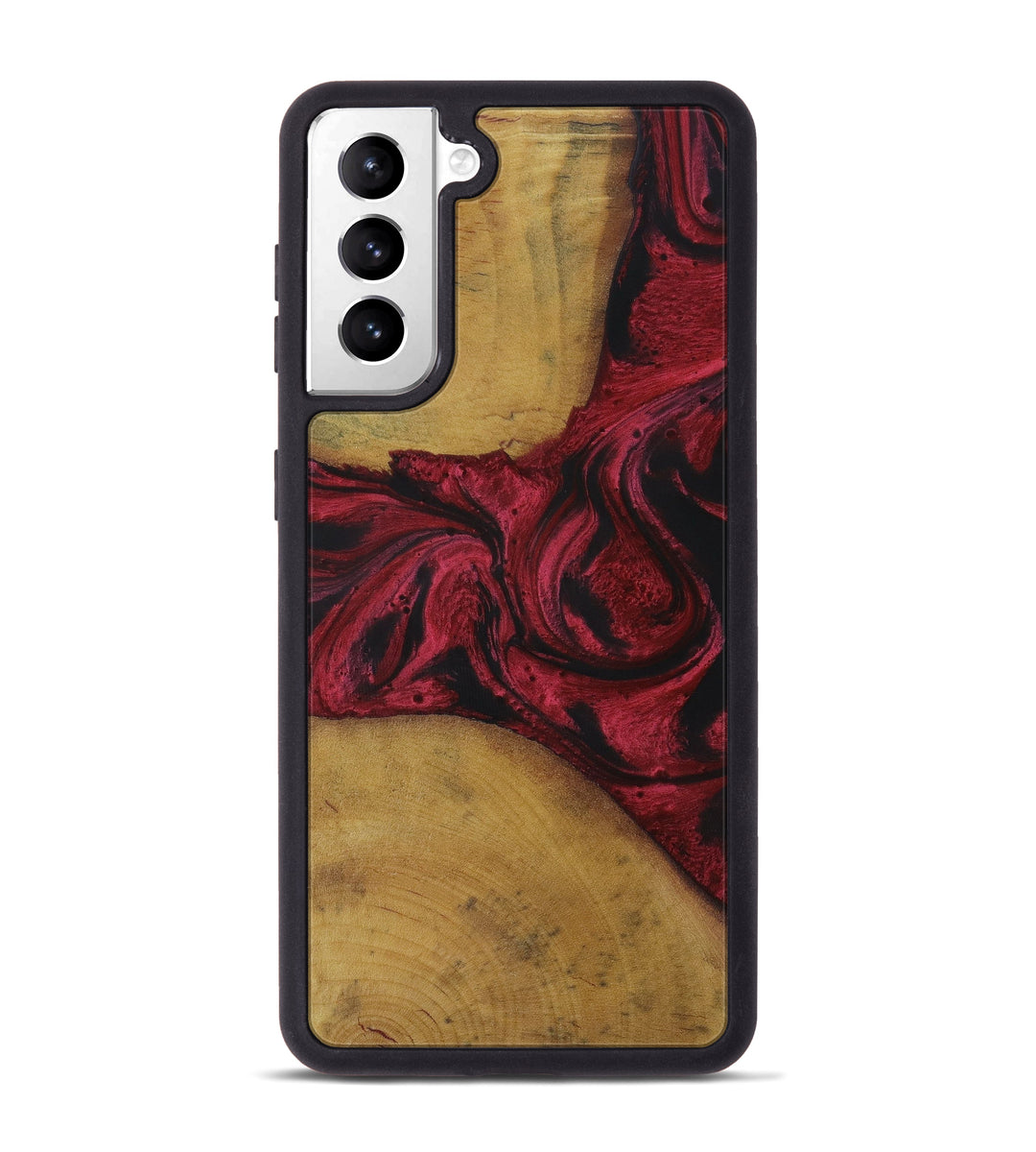 Galaxy S21 Wood+Resin Phone Case - Katie (Dark Red, 429025)