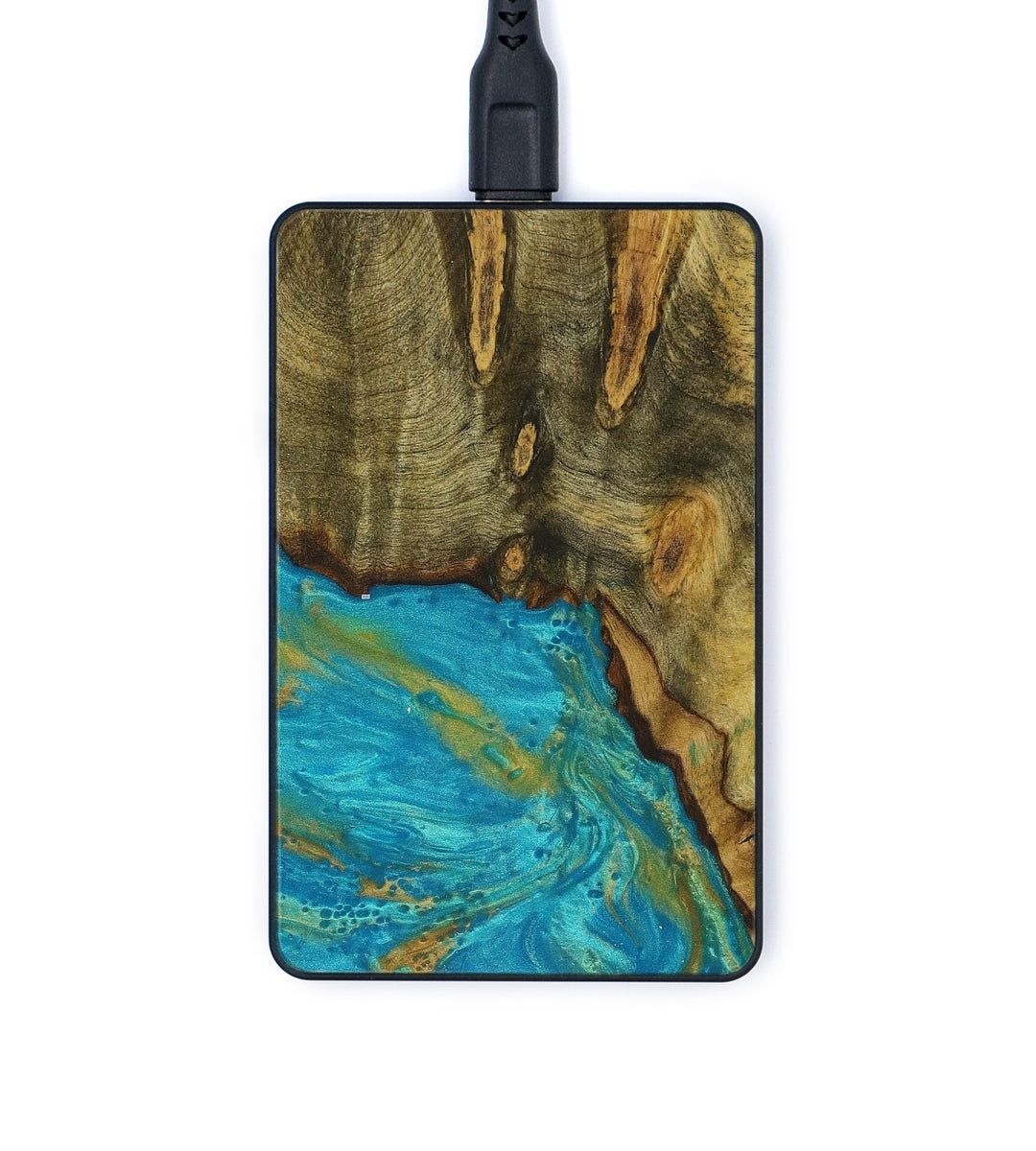 Thin Wood+Resin Wireless Charger - Keri (Teal & Gold, 354511)