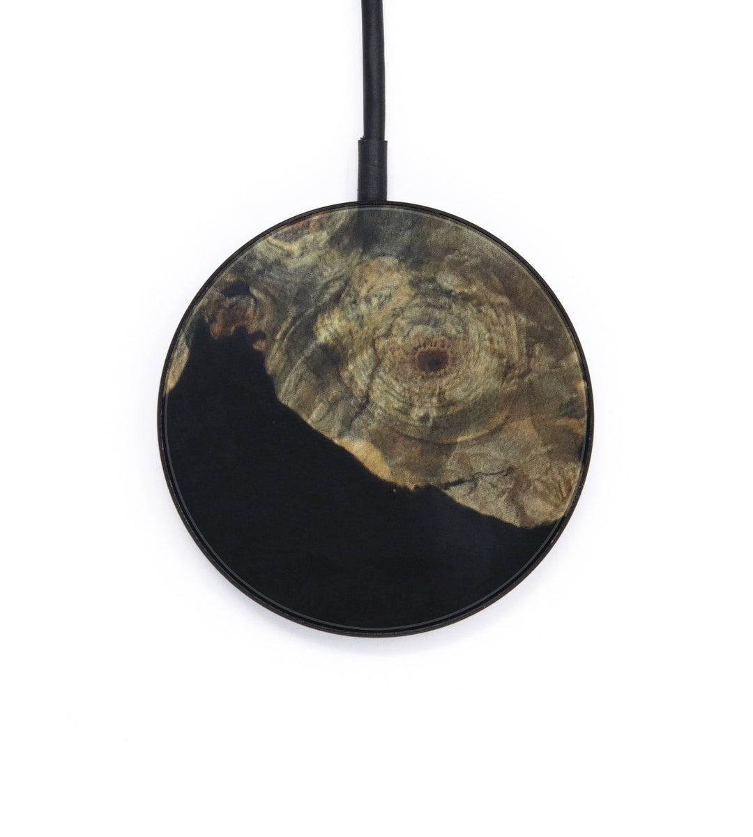 Circle Wood+Resin Wireless Charger - Jagdish (Pure Black, 394494)