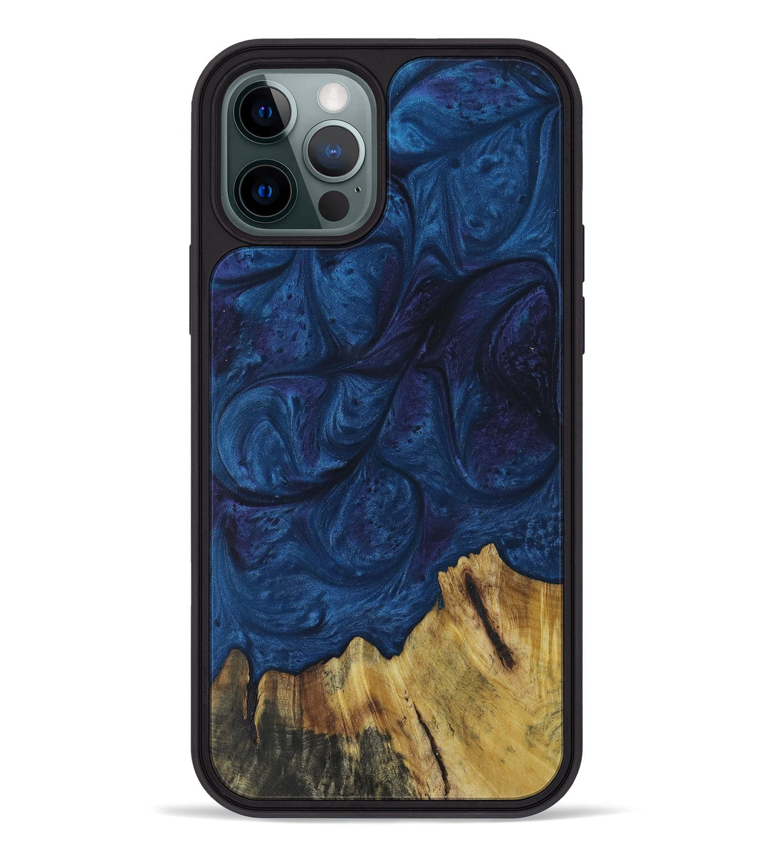 iPhone 12 Pro Wood+Resin Phone Case - Hadria (Dark Blue, 394373)