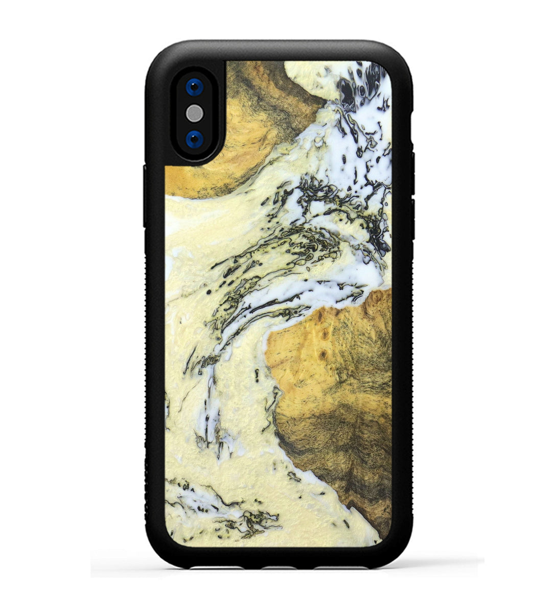 iPhone Xs Wood+Resin Case - Patrizia (Black & White, 334665)