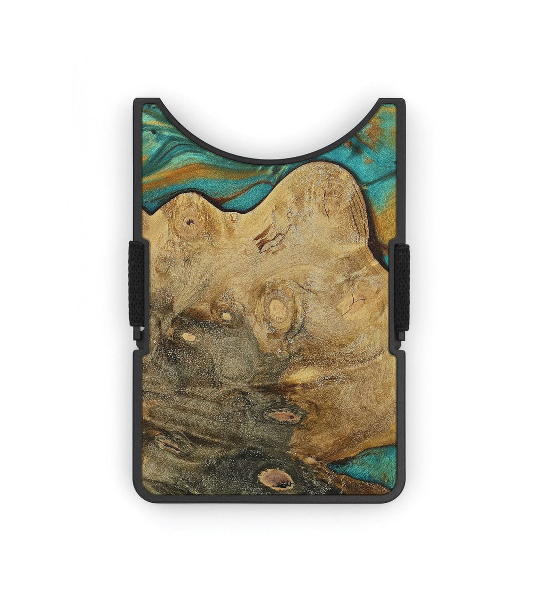 Alloy Wood+Resin Wallet - Raphaela (Teal & Gold, 353688)