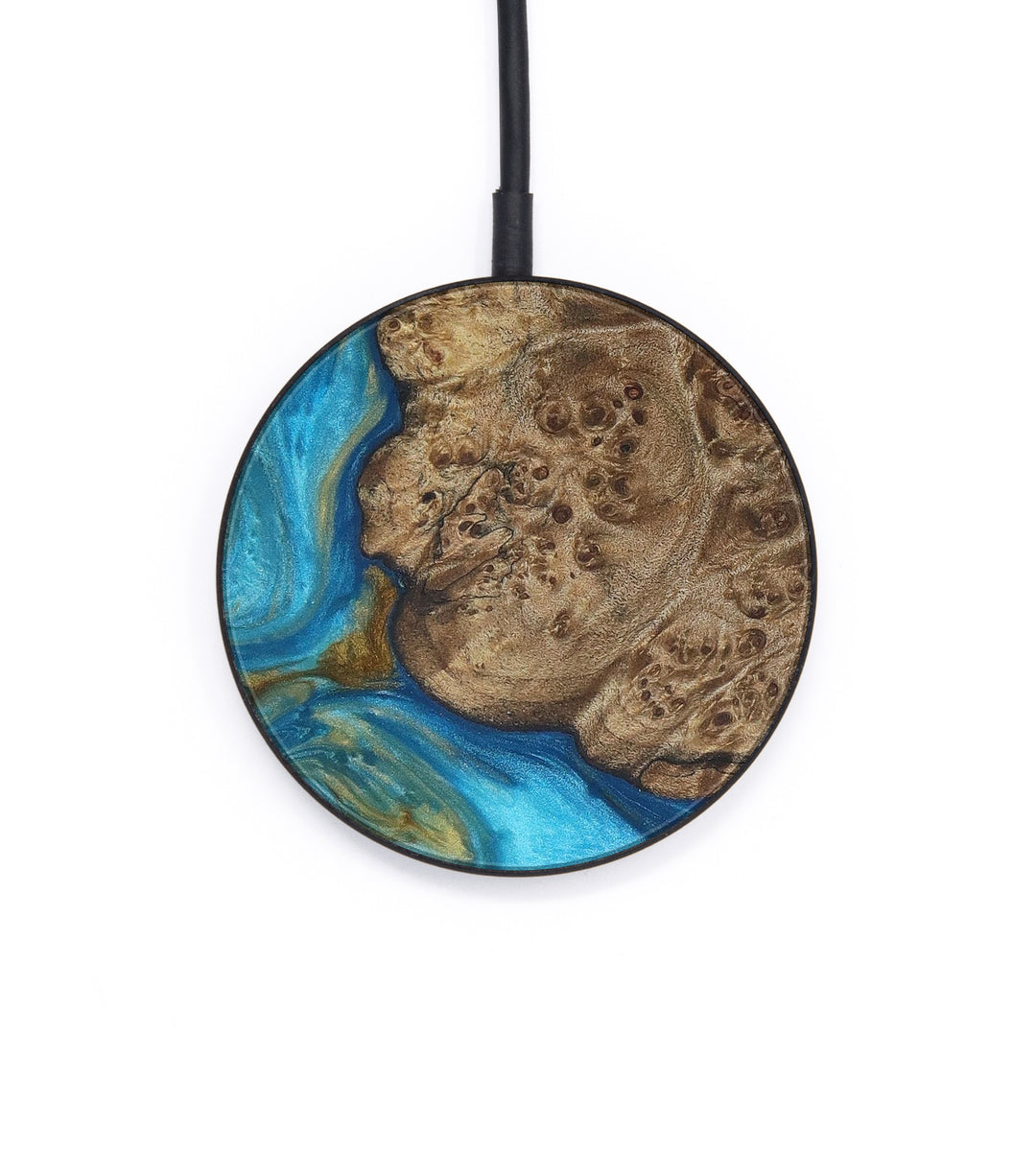 Circle Wood+Resin Wireless Charger - Ina (Teal & Gold, 399983)