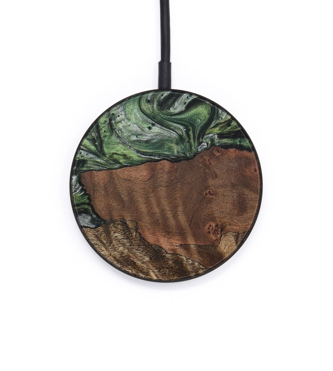 Circle Wood+Resin Wireless Charger - Koral (Dark Green, 387007)
