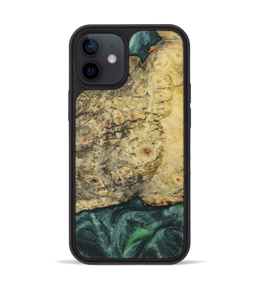 iPhone 12 mini Wood+Resin Phone Case - Dorelle (Dark Green, 394731)