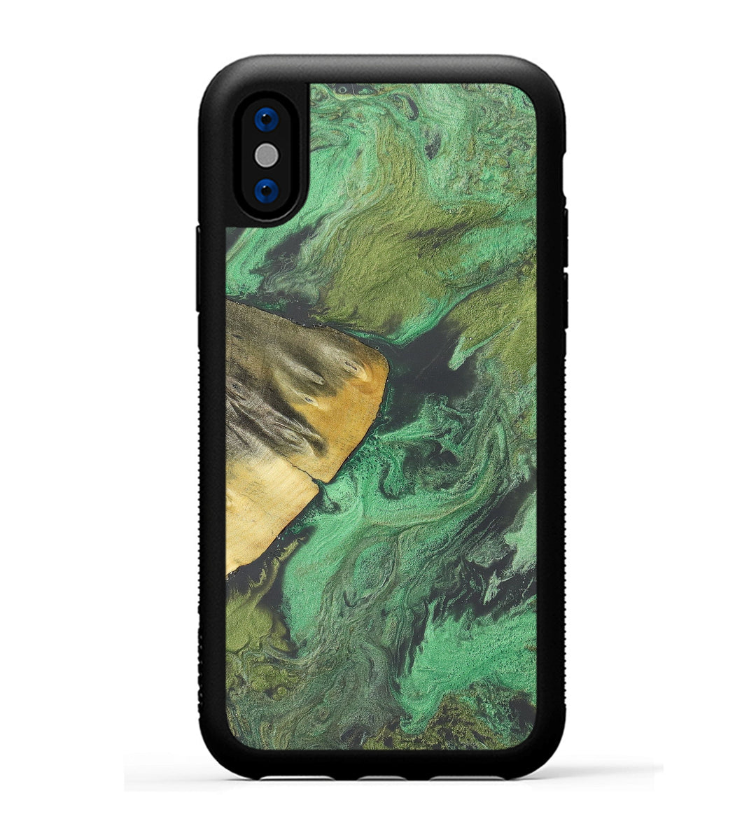iPhone Xs Wood+Resin Phone Case - Nakina (Dark Green, 348418)