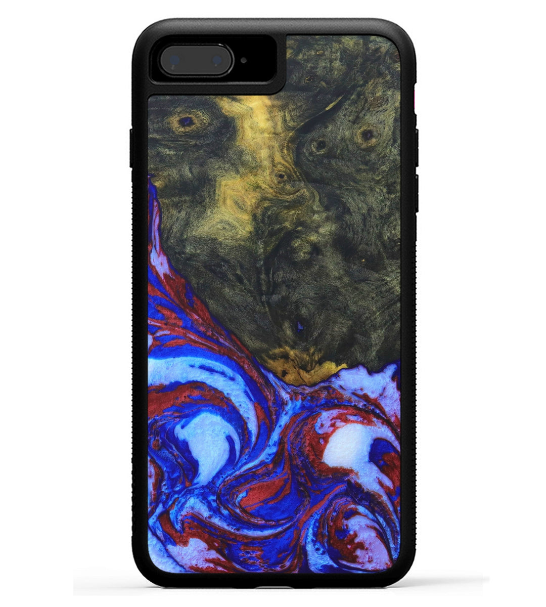iPhone 8 Plus Wood+Resin Case - Erlene (Blue & Red, 333818)