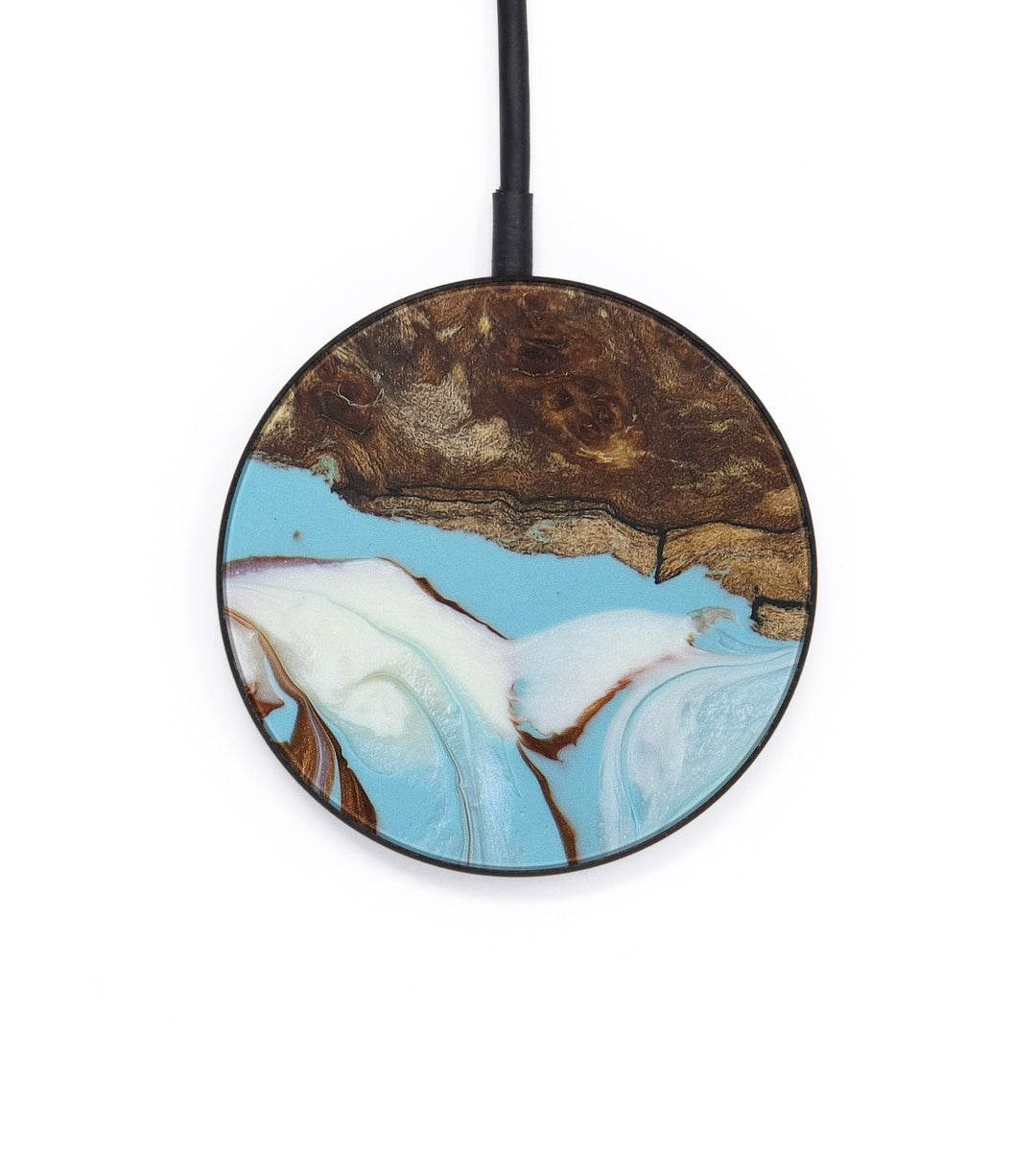 Circle Wood+Resin Wireless Charger - Catina (Teal & Gold, 406378)