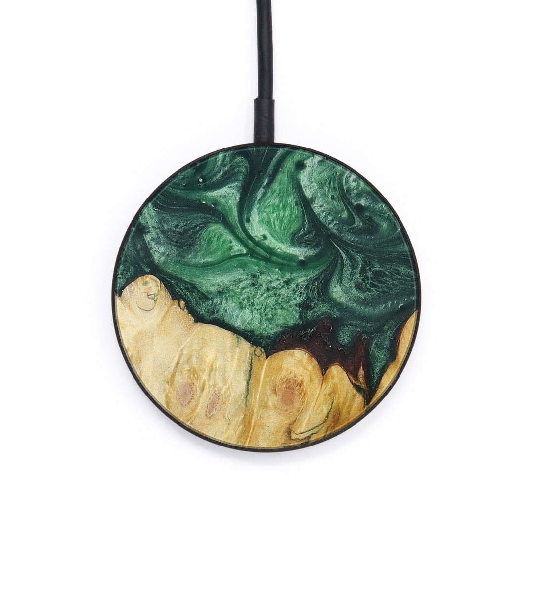 Circle Wood+Resin Wireless Charger - Melek (Dark Green, 392895)