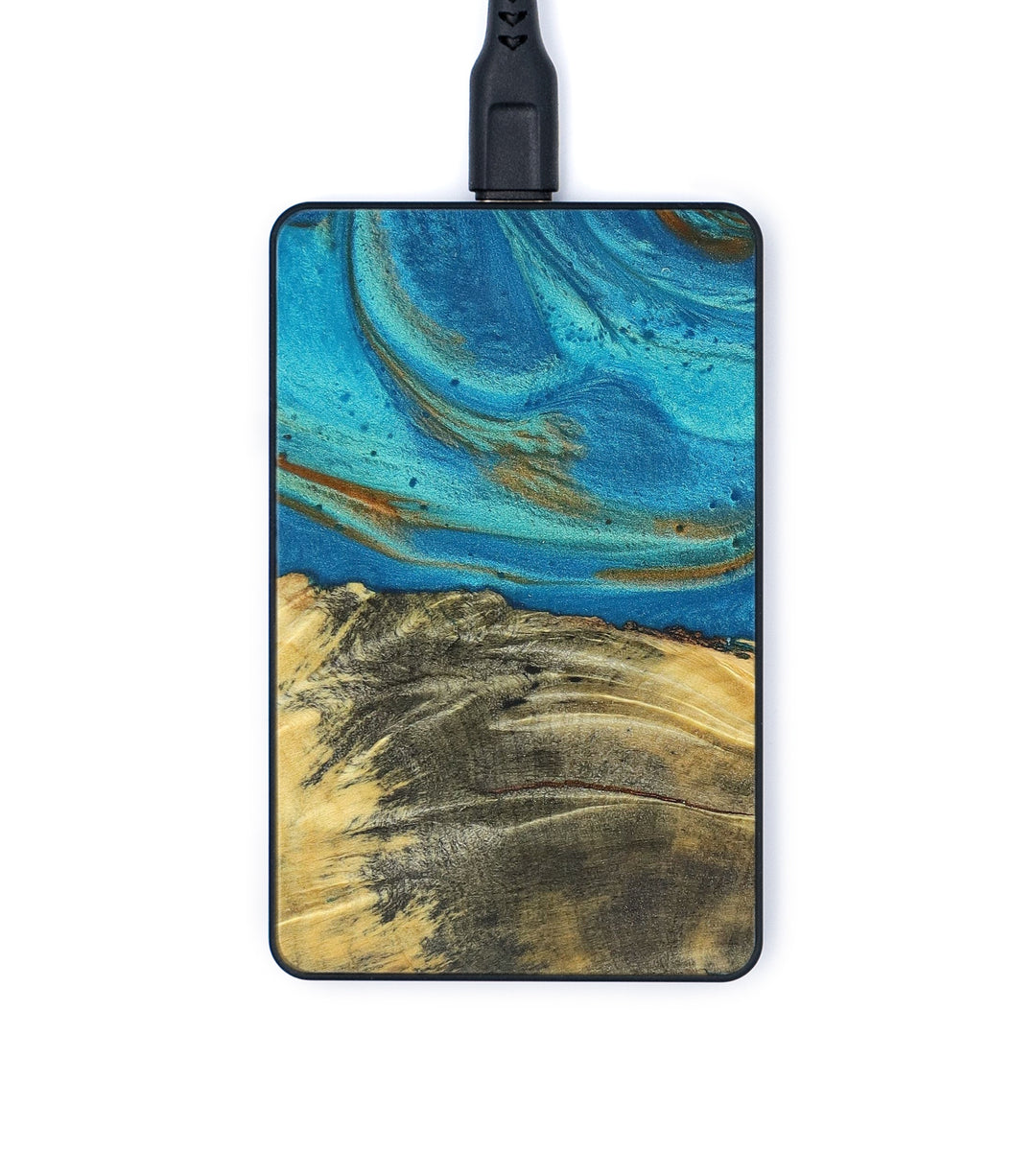 Thin Wood+Resin Wireless Charger - Janene (Teal & Gold, 376666)