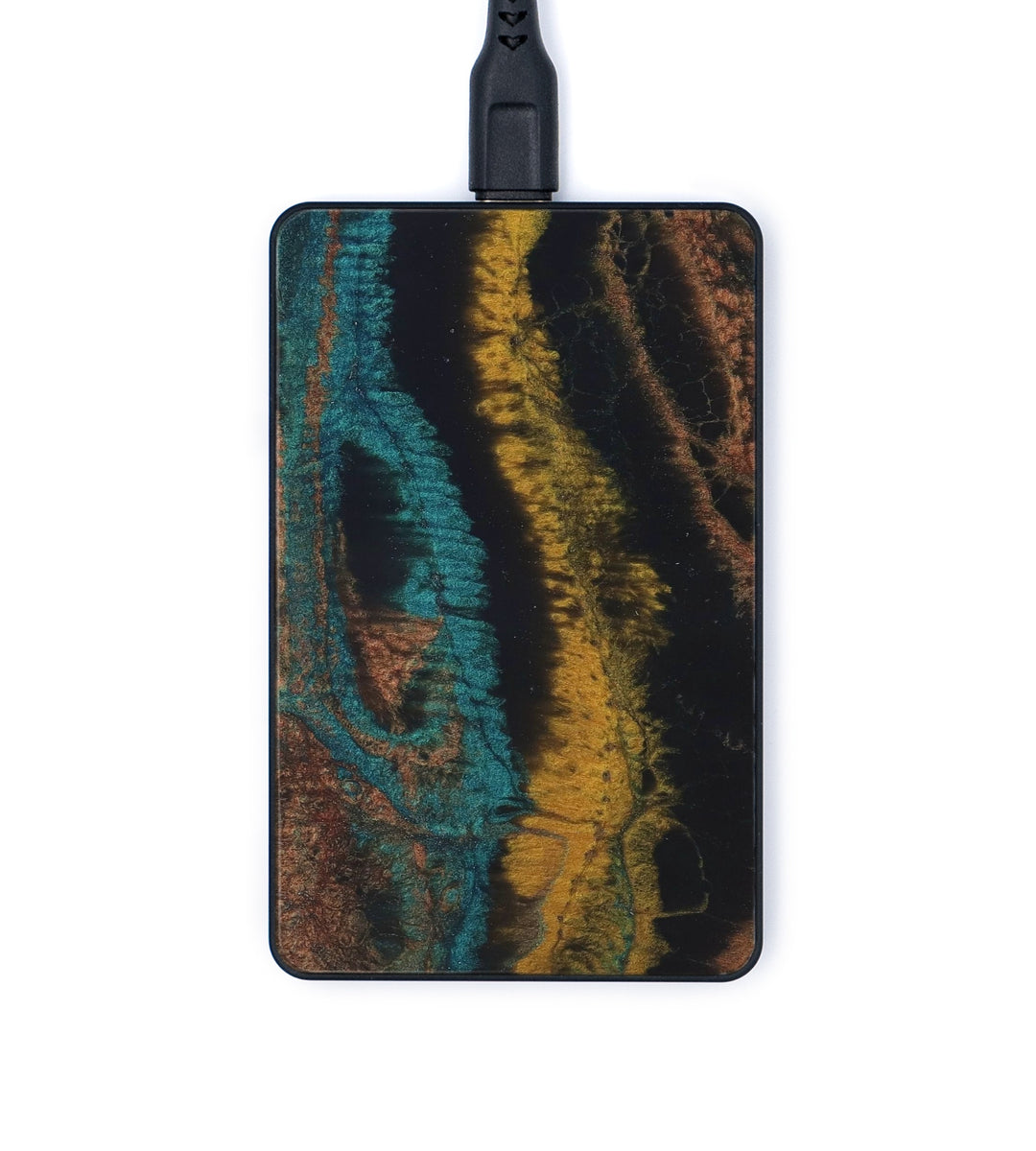 Thin ResinArt Wireless Charger - Keely (Teal & Gold, 347719)