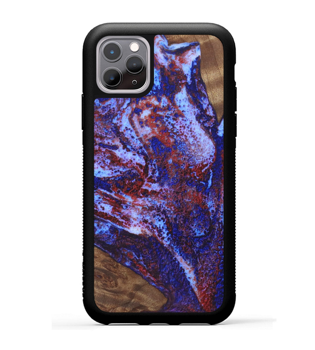 iPhone 11 Pro Wood+Resin Case - Herminia (Blue & Red, 336361)