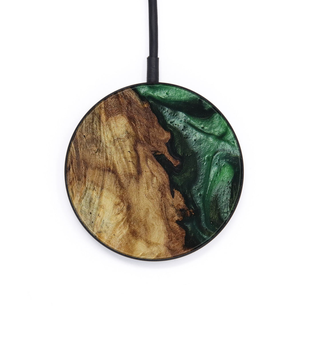 Circle Wood+Resin Wireless Charger - Charles (Dark Green, 400150)