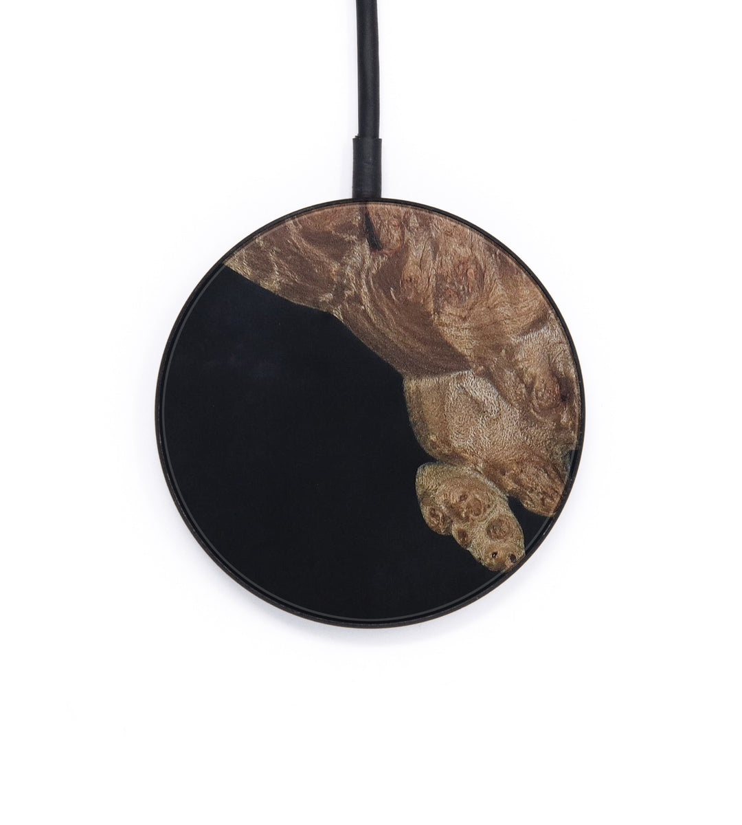 Circle Wood+Resin Wireless Charger - Ashraf (Pure Black, 401777)