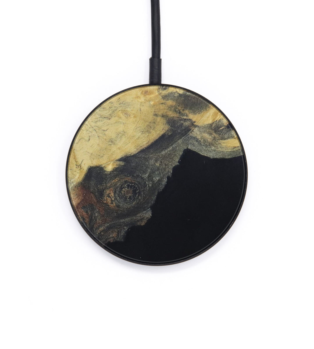 Circle Wood+Resin Wireless Charger - Flossie (Pure Black, 400382)