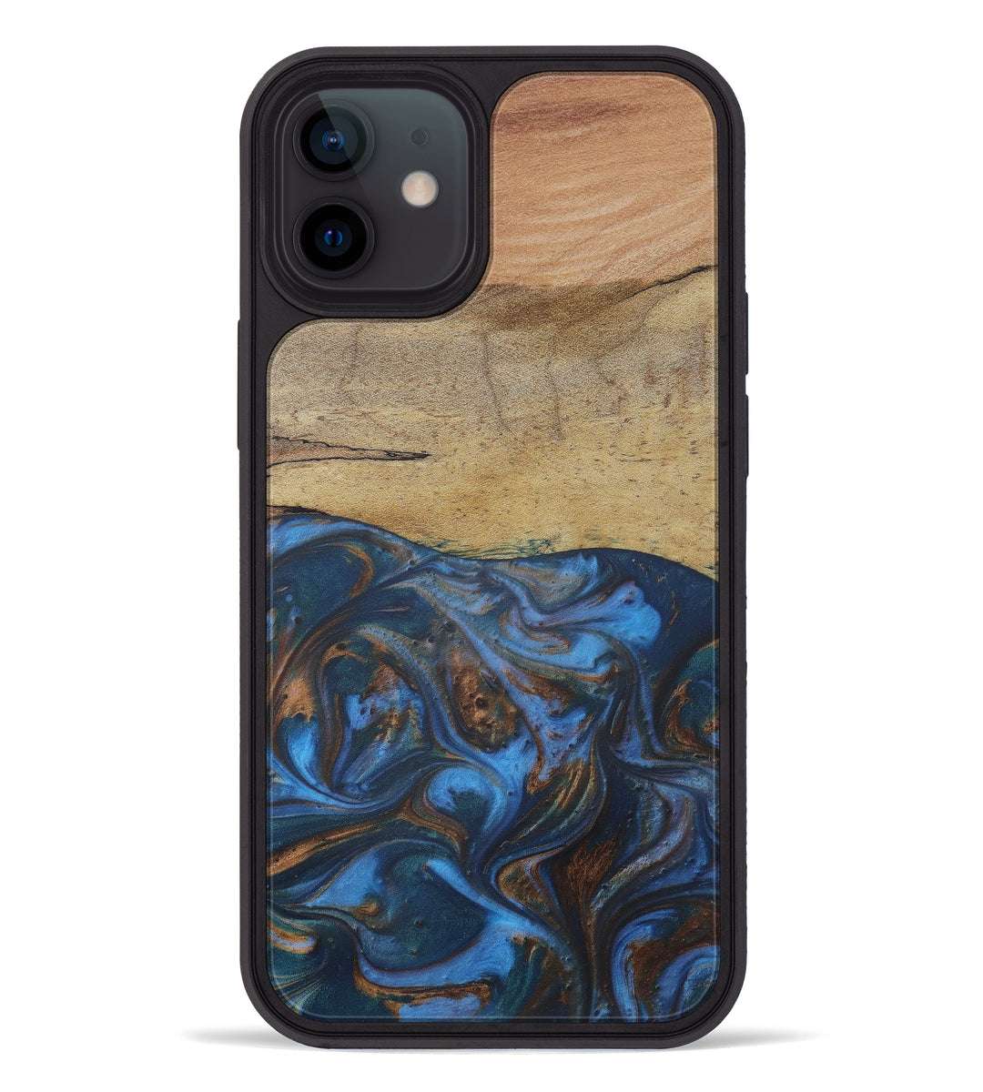 iPhone 12 Wood+Resin Phone Case - Rois (Teal & Gold, 411057)