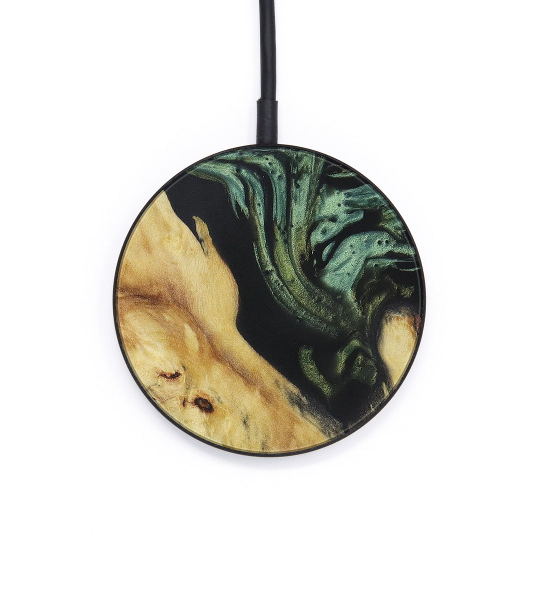Circle Wood+Resin Wireless Charger - Ernest (Dark Green, 406206)