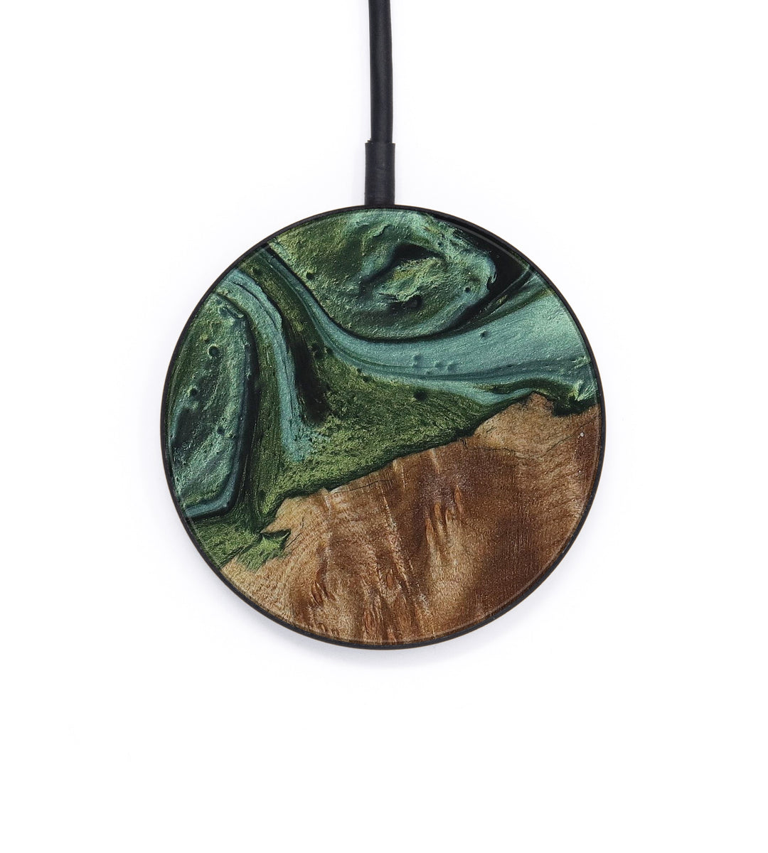 Circle Wood+Resin Wireless Charger - Angele (Dark Green, 422224)