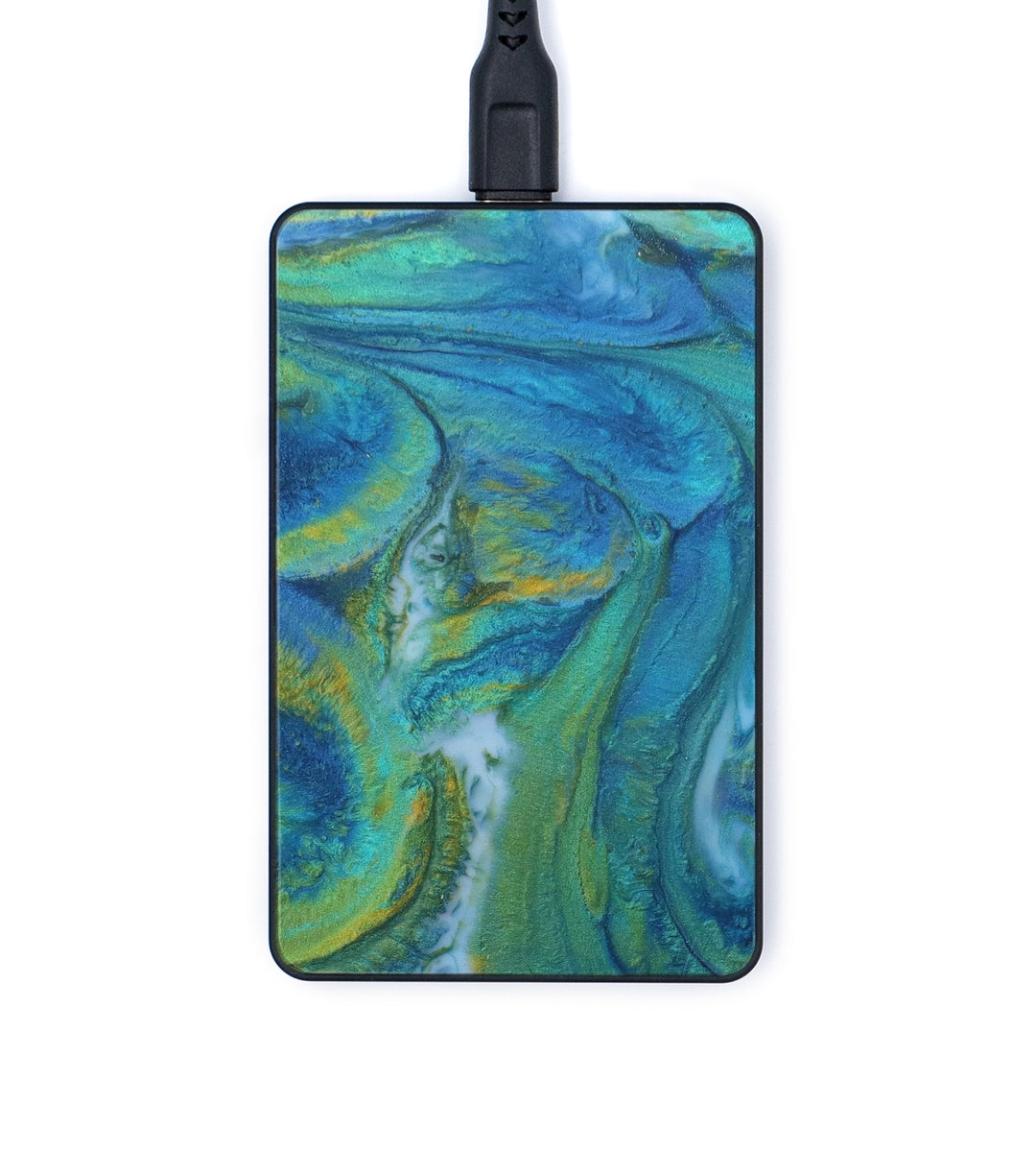 Thin ResinArt Wireless Charger - Nevsa (Teal & Gold, 347553)