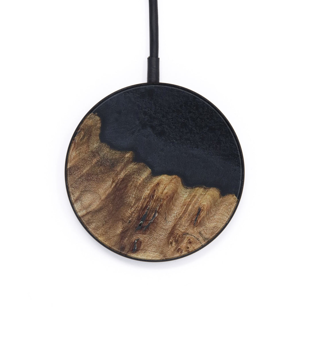 Circle Wood+Resin Wireless Charger - Inge (Pure Black, 410853)
