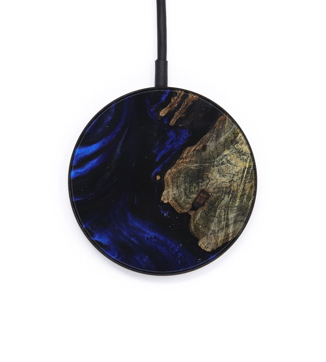 Circle Wood+Resin Wireless Charger - Lynnette (Dark Blue, 392926)