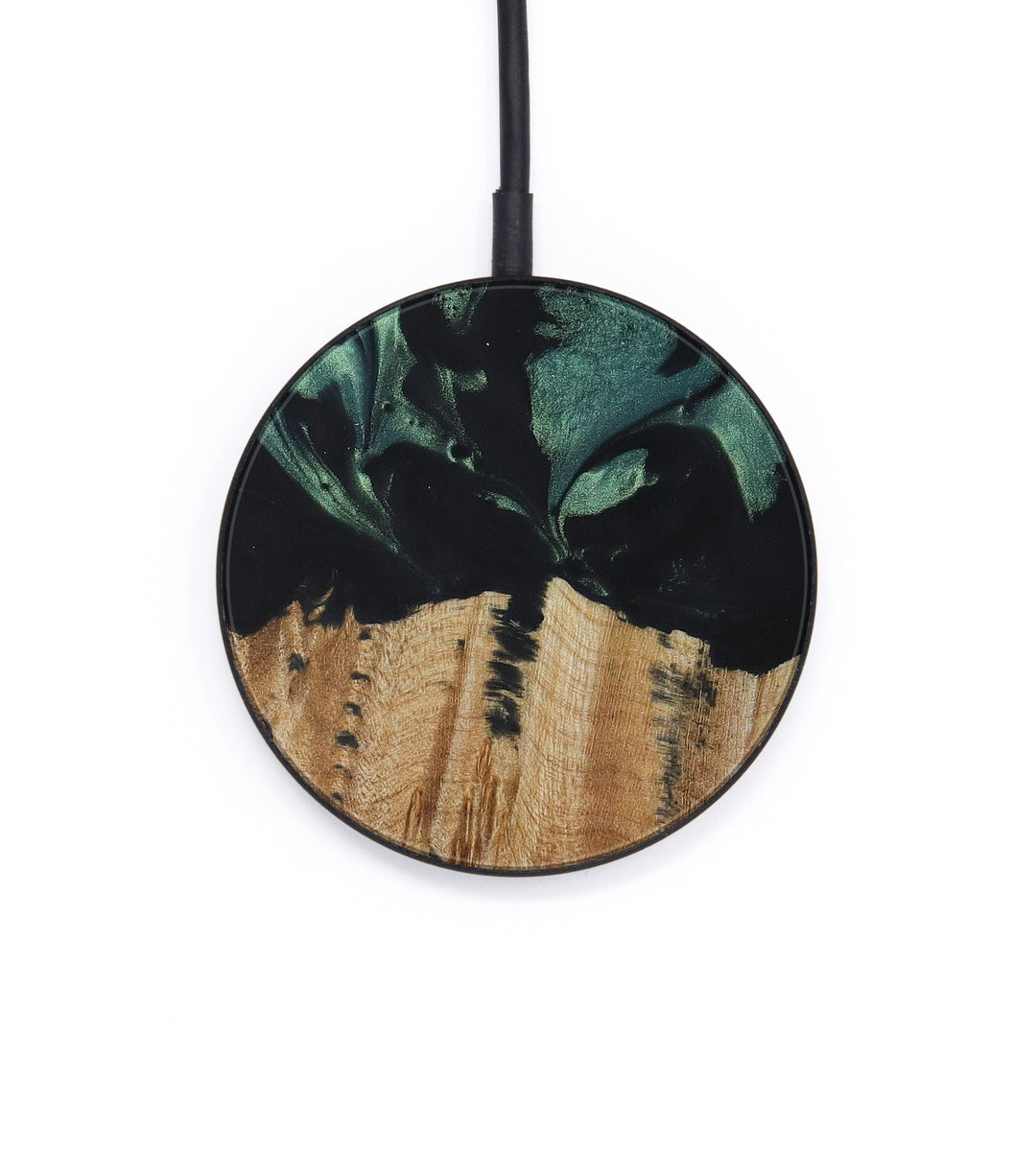 Circle Wood+Resin Wireless Charger - Norry (Dark Green, 420310)