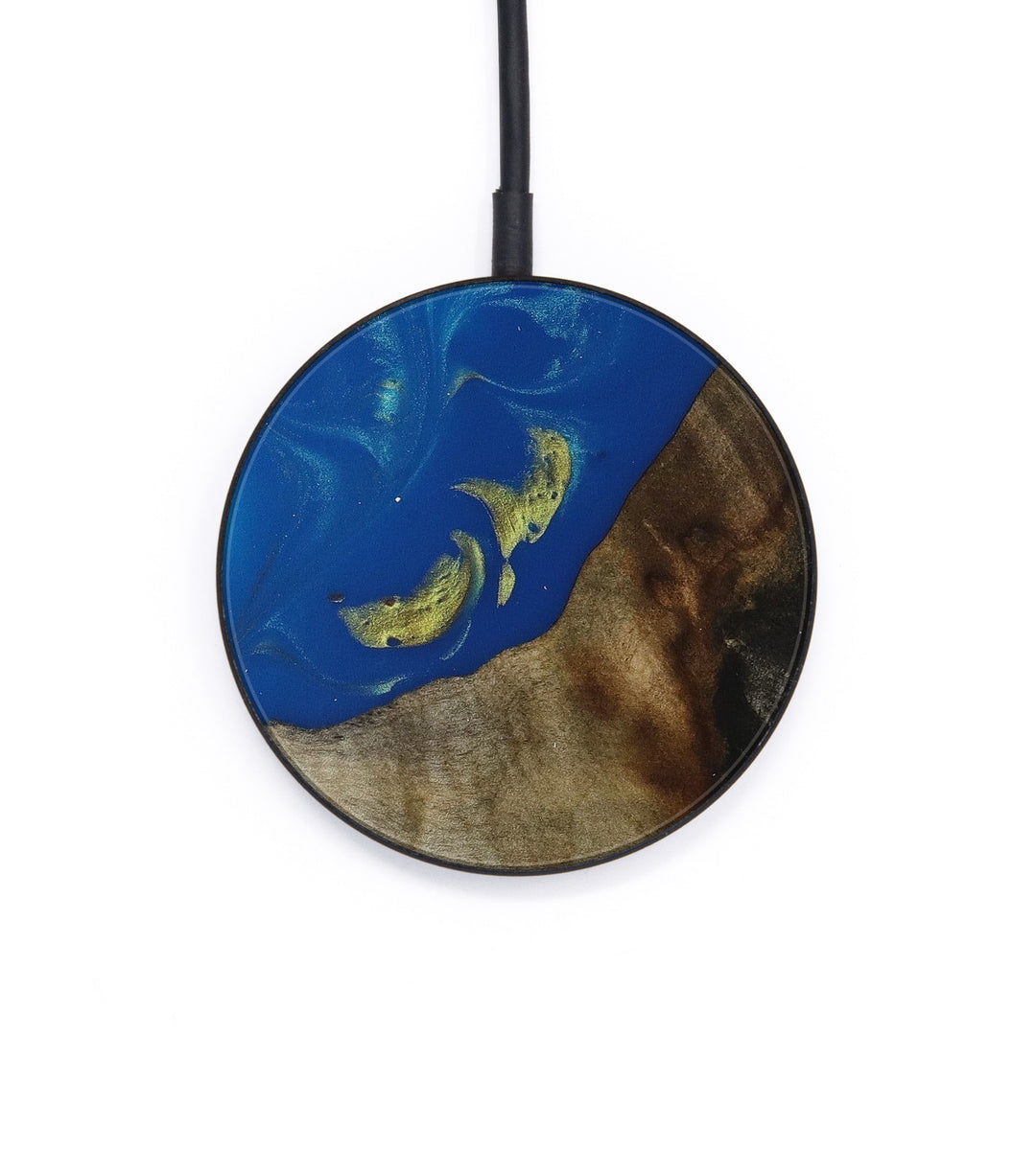 Circle Wood+Resin Wireless Charger - Mirna (Teal & Gold, 403085)