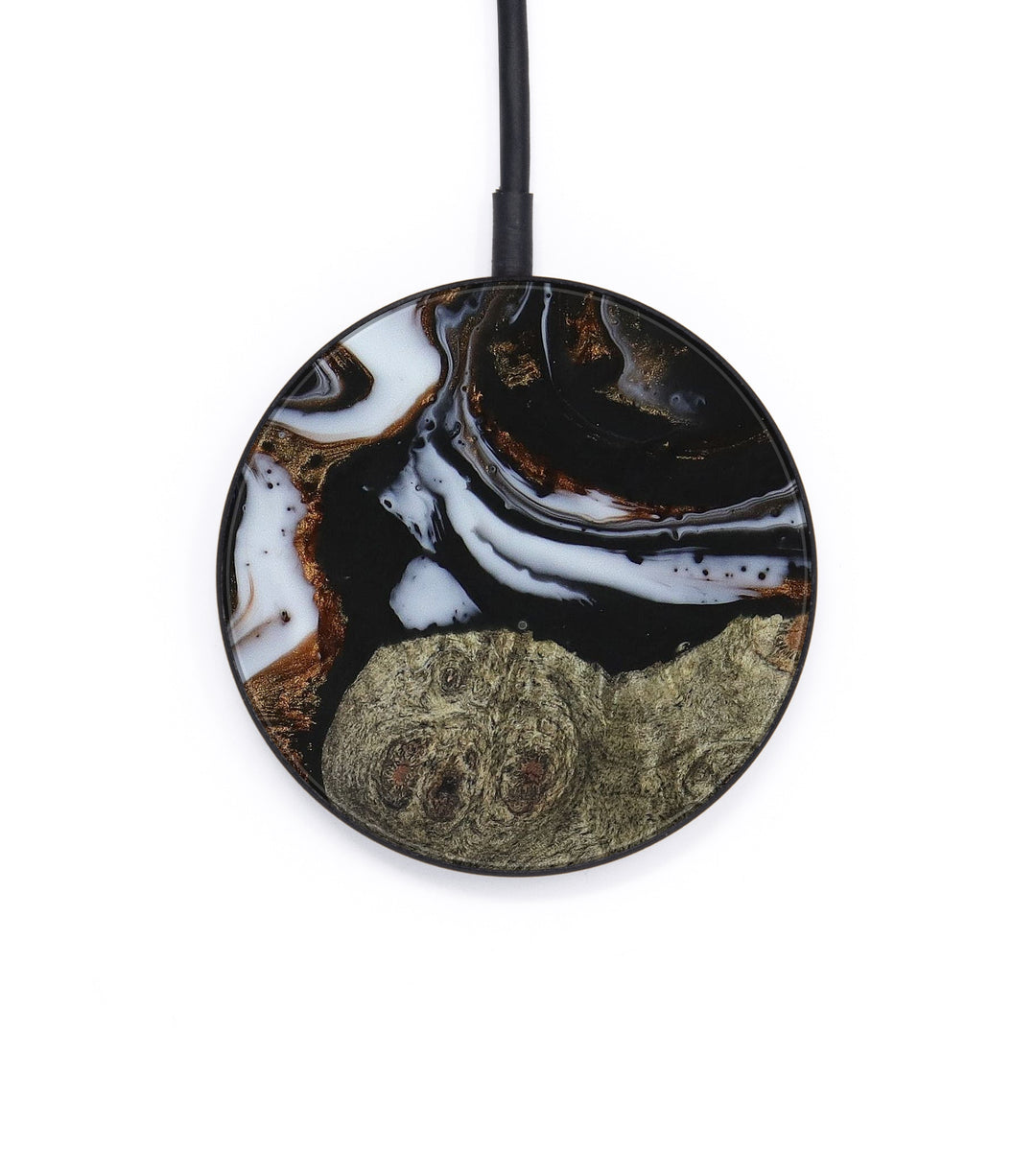 Circle Wood+Resin Wireless Charger - Grady (Black & White, 390692)