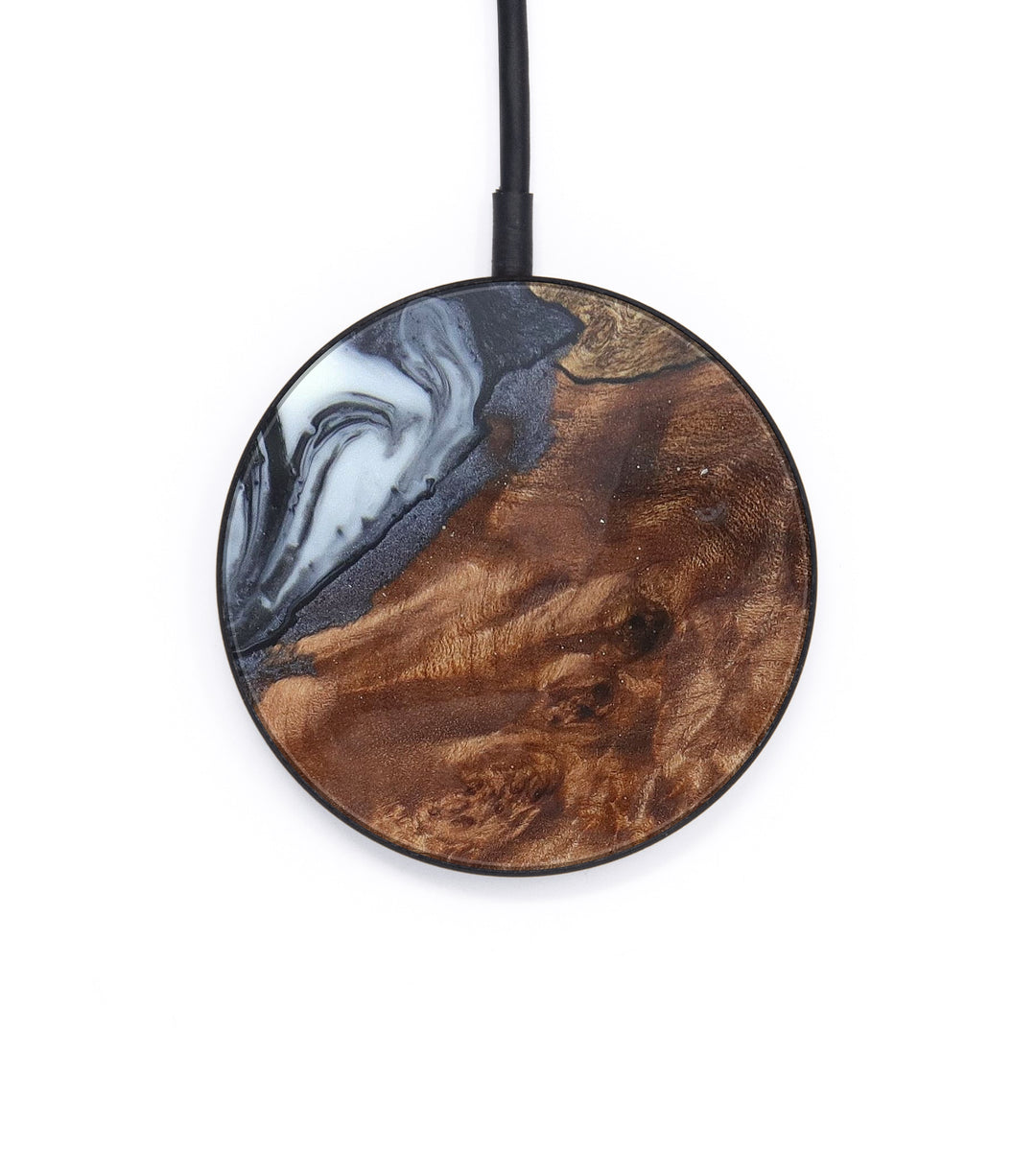 Circle Wood+Resin Wireless Charger - Tansy (Black & White, 388891)