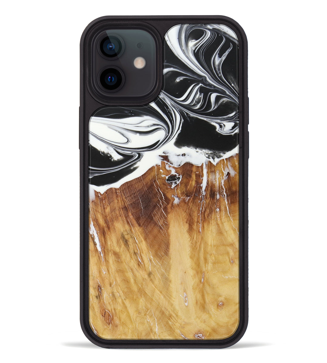 iPhone 12 Wood+Resin Phone Case - Lorianne (Black & White, 427802)
