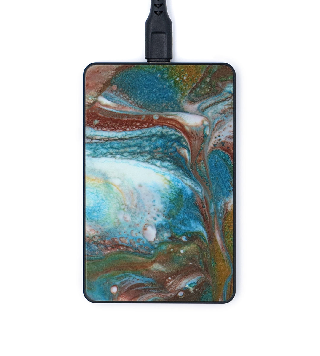 Thin ResinArt Wireless Charger - Femke (Teal & Gold, 347762)