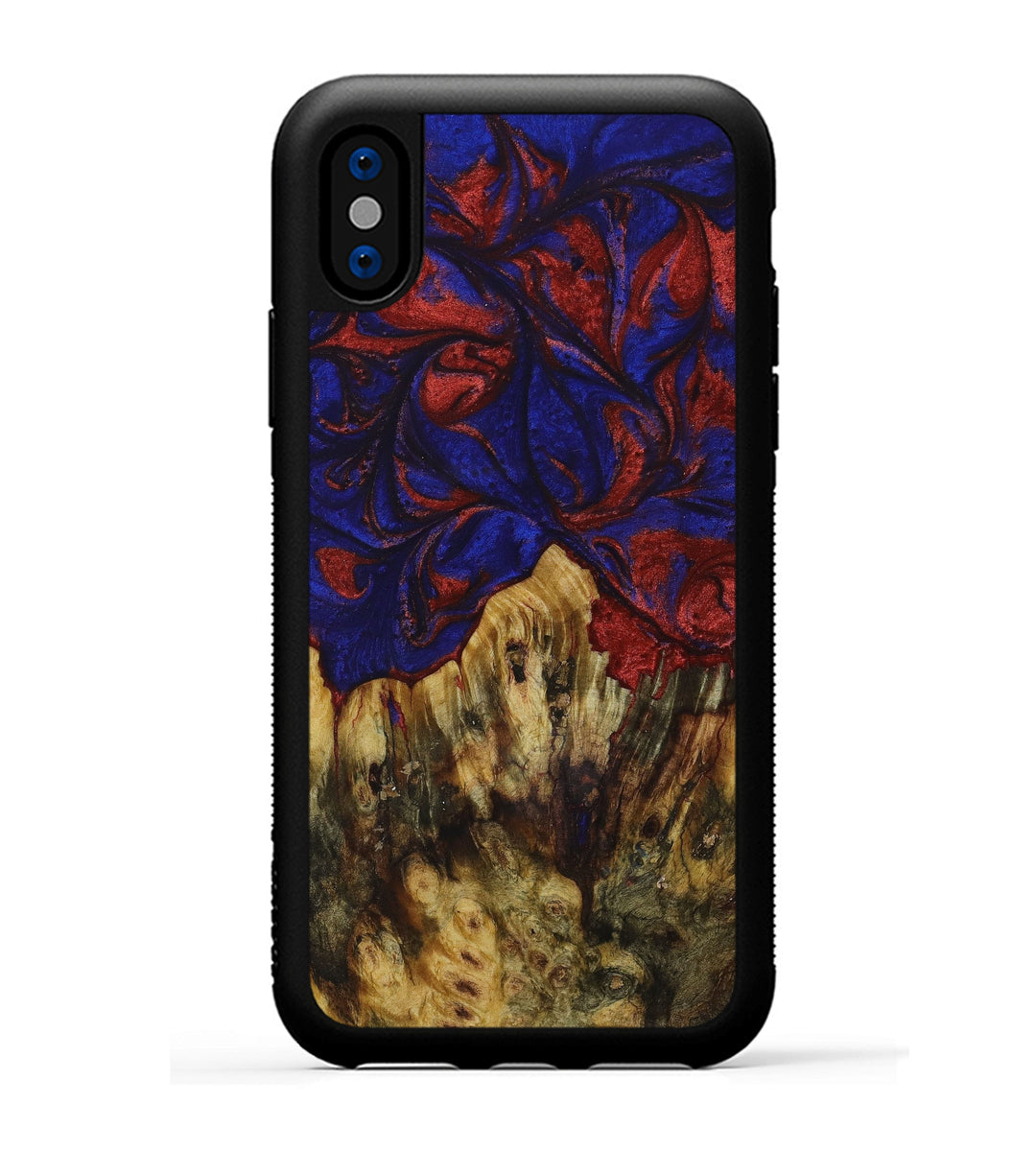 iPhone X Wood+Resin Phone Case - Elysee (Blue & Red, 395980)