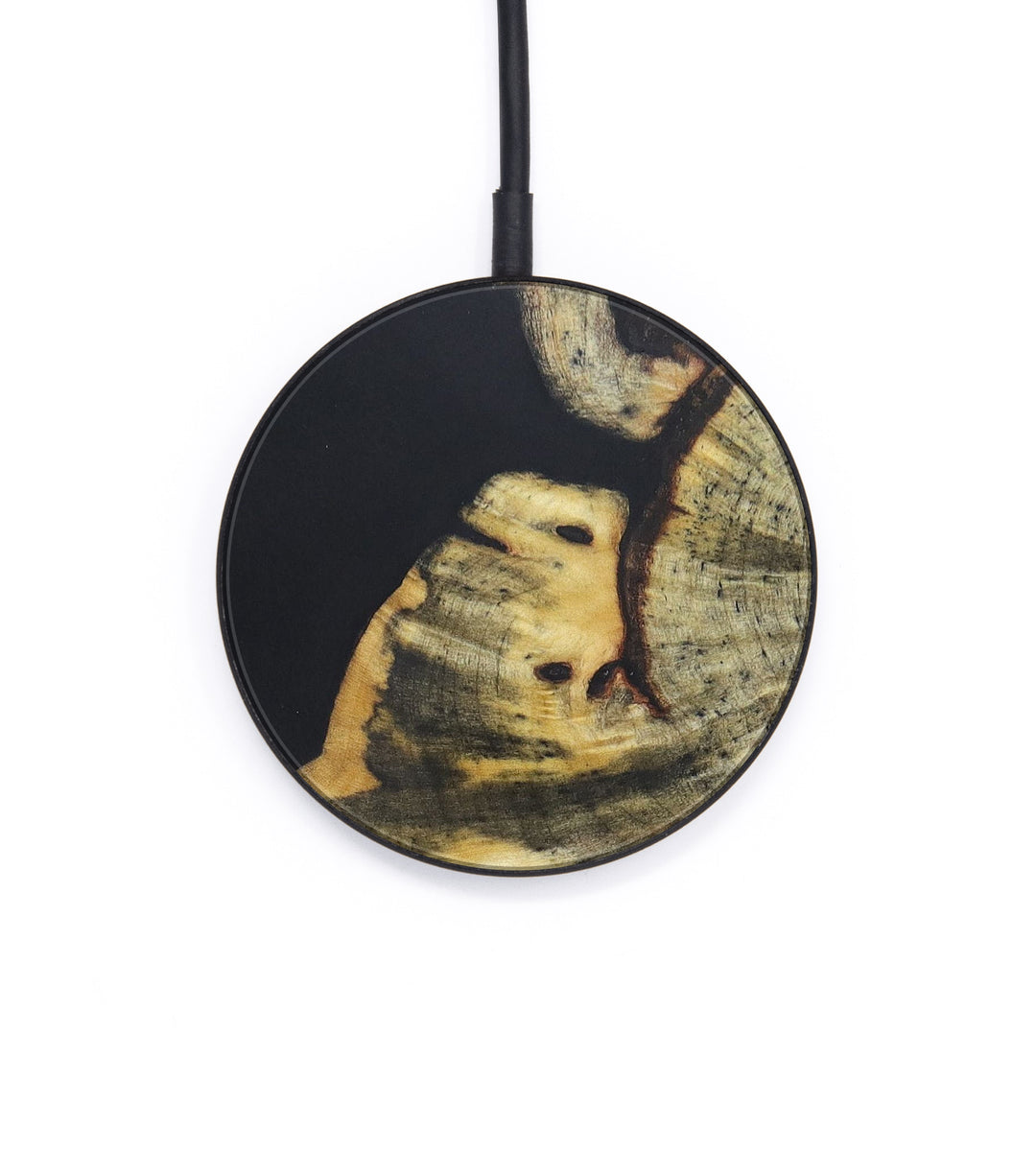 Circle Wood+Resin Wireless Charger - Allina (Pure Black, 393294)