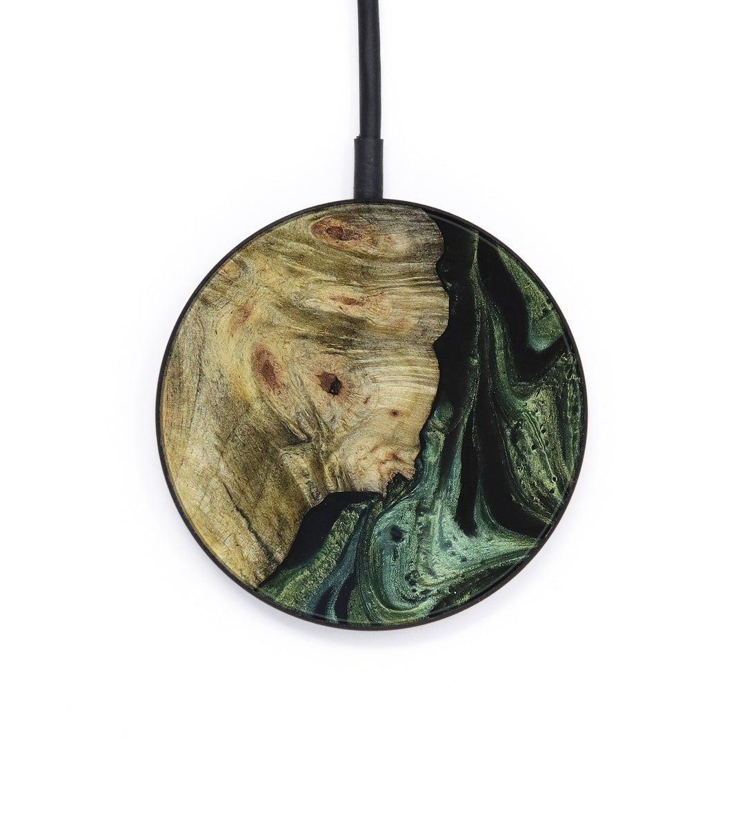 Circle Wood+Resin Wireless Charger - Kamila (Dark Green, 392845)
