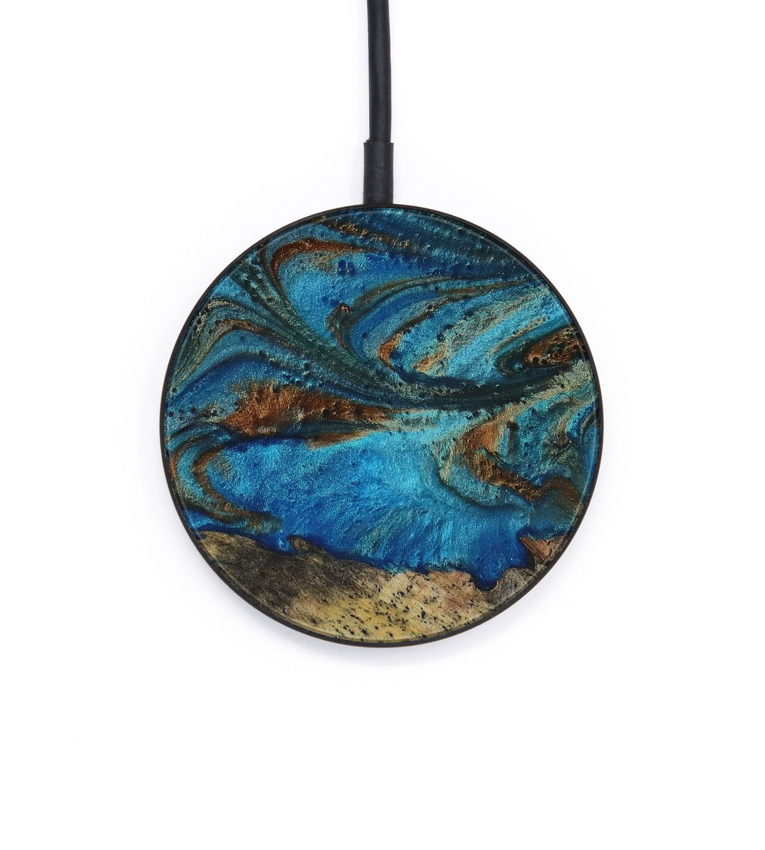 Circle Wood+Resin Wireless Charger - Camellia (Teal & Gold, 393171)