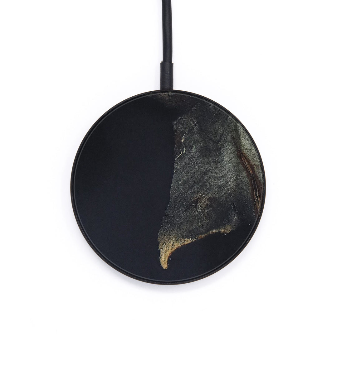Circle Wood+Resin Wireless Charger - Ossama (Pure Black, 404237)