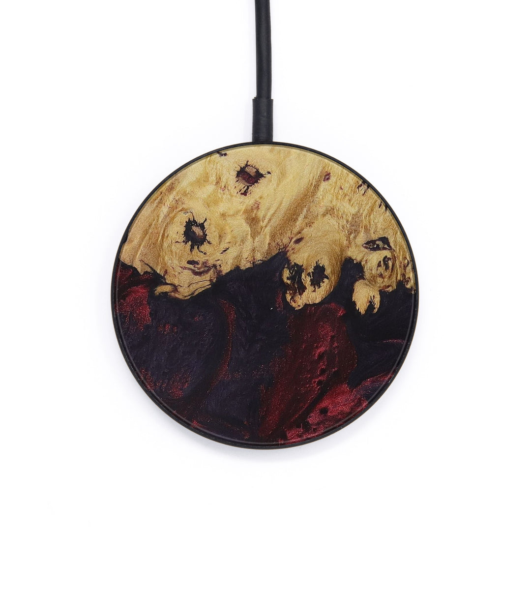 Circle Wood+Resin Wireless Charger - Almire (Dark Red, 428351)