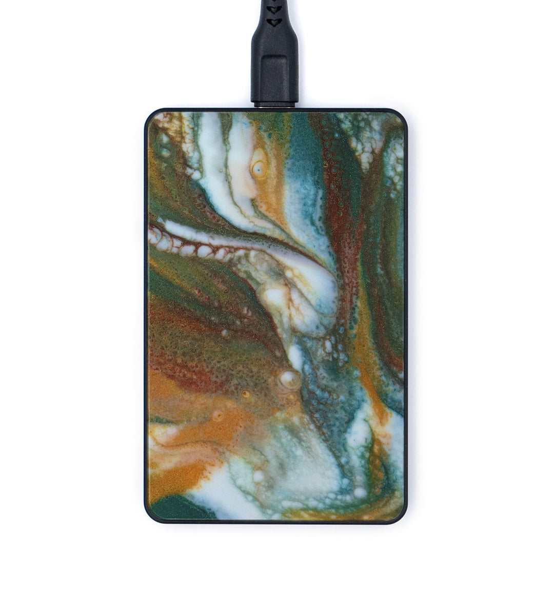 Thin ResinArt Wireless Charger - Amour (Teal & Gold, 347715)