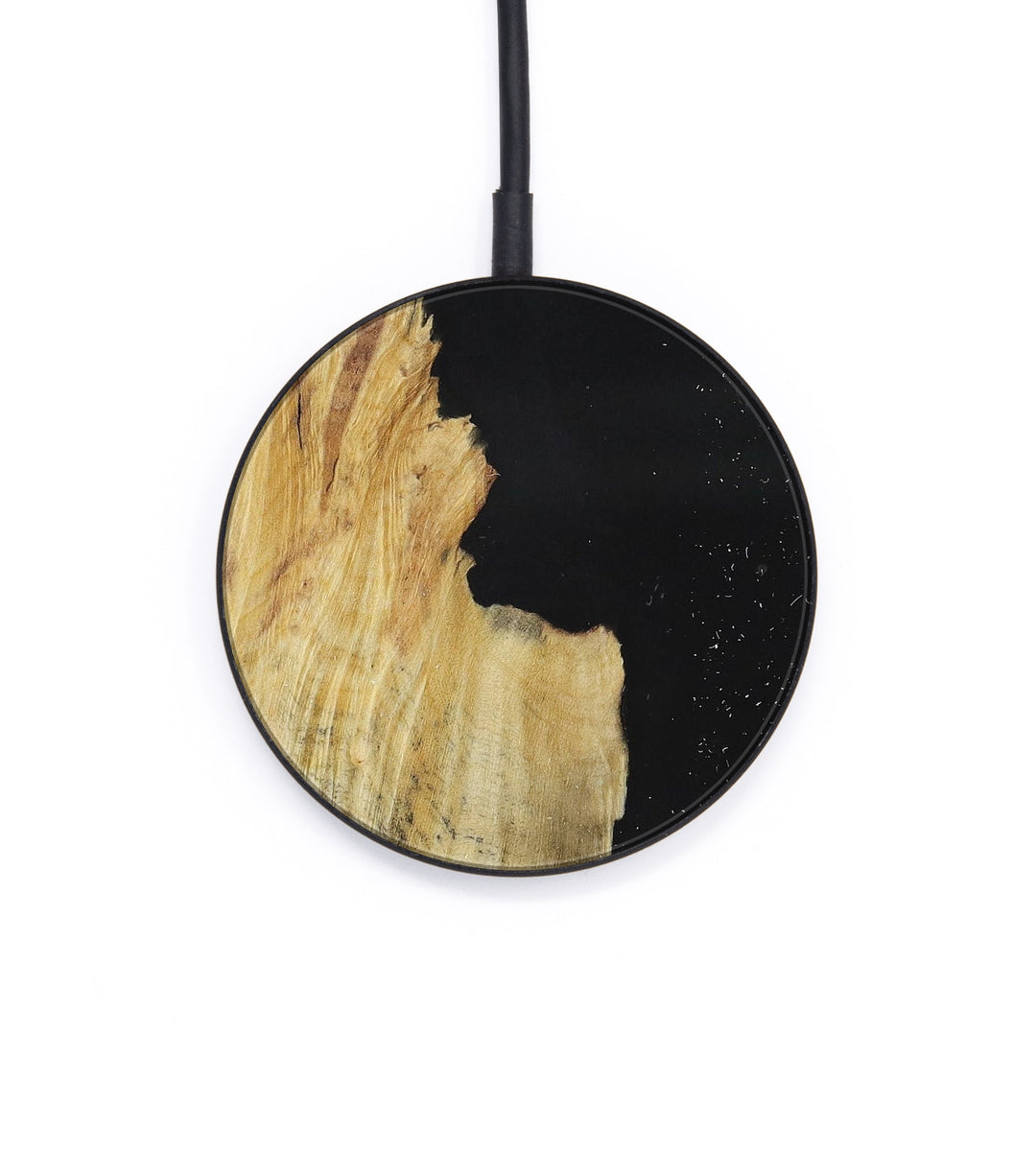 Circle Wood+Resin Wireless Charger - Aile (Pure Black, 390174)