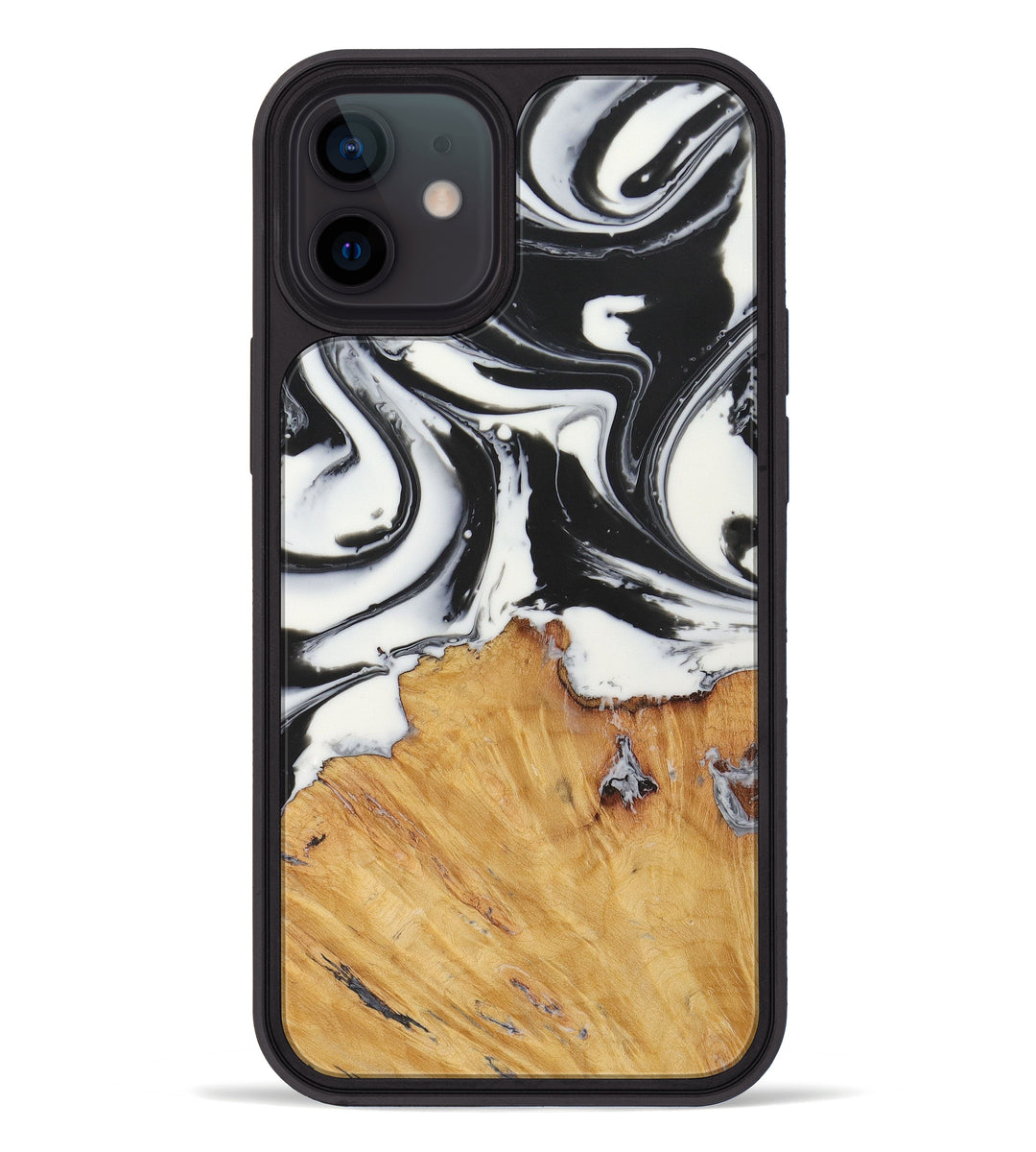 iPhone 12 Wood+Resin Phone Case - Arlinda (Black & White, 427797)