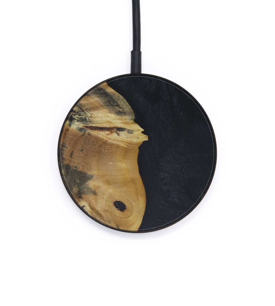 Circle Wood+Resin Wireless Charger - Terrell (Pure Black, 409419)