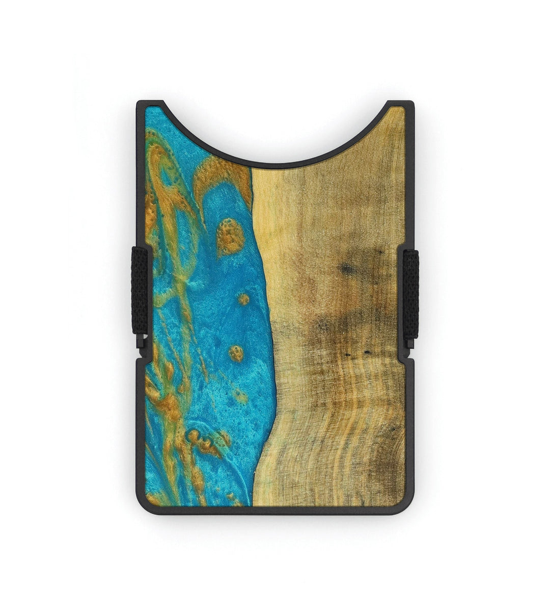 Alloy Wood+Resin Wallet - Bekki (Teal & Gold, 354510)