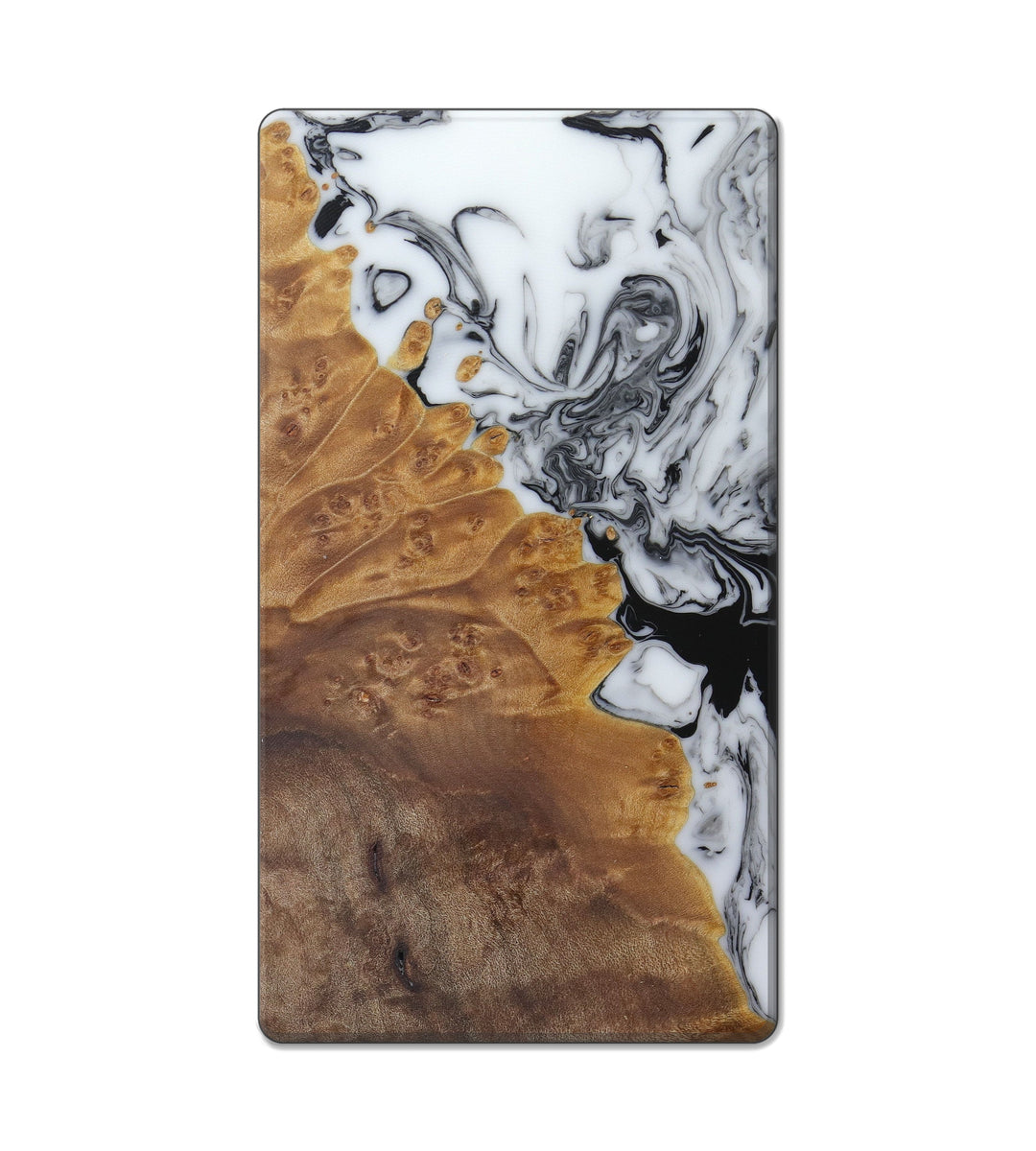 Custom Block Wood+Resin Live Edge - Habeeb (Black & White, 404775)