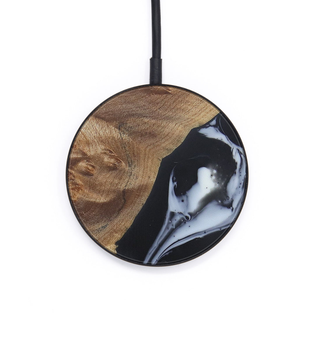 Circle Wood+Resin Wireless Charger - Me (Black & White, 406279)